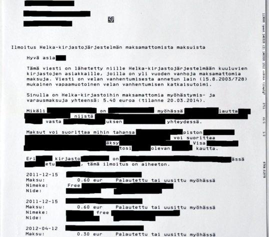 """Helsingin yliopiston kirjaston lähettämä """"velan vanhentumisesta annetun lain (15.8.2003/728) mukainen vapaamuotoinen velan vanhentumisen katkaisutoimi"""""""