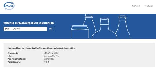 Tarkista juomapakkauksen pantillisuus -työkaluun syötettynä viivakoodi 6420615510383. Vastauksena Onnenpekka Pils, kierrätyslasi, 0,10 €.