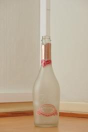 Tyhjä 0,75 litran vaalea Fresita-kuohuviinipullo puunvärisellä lattialla.