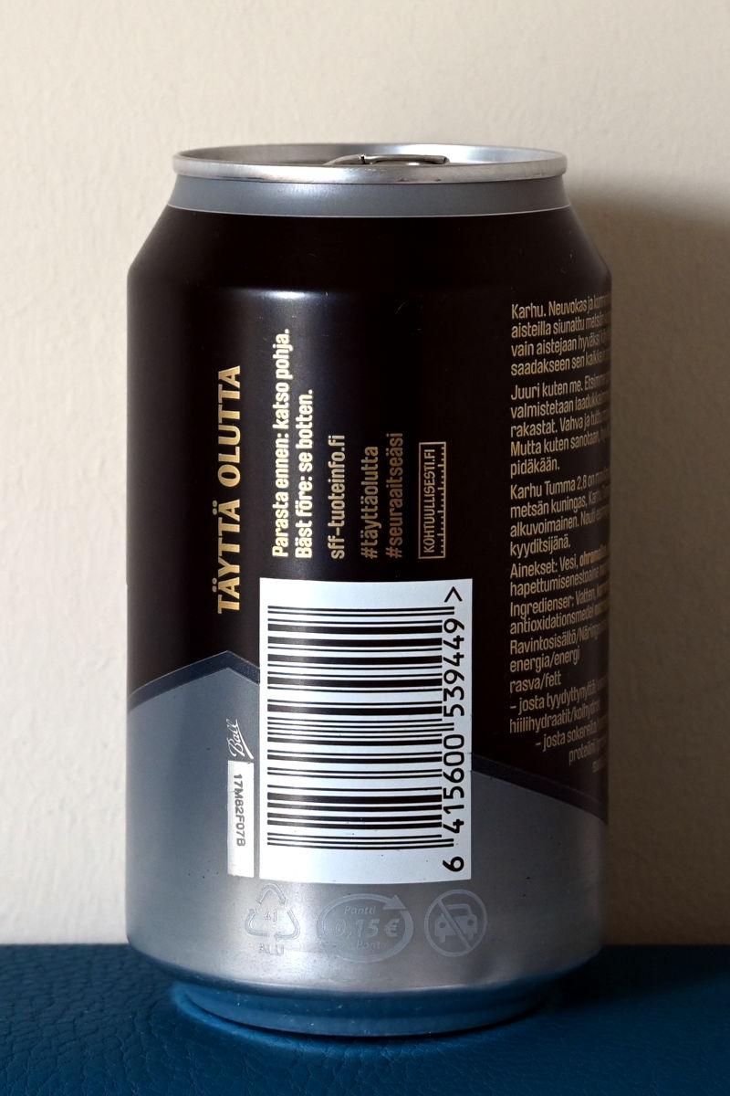 Karhu tumma 2,8 -oluttölkissä harmaa panttimerkki harmaalla pohjalla.