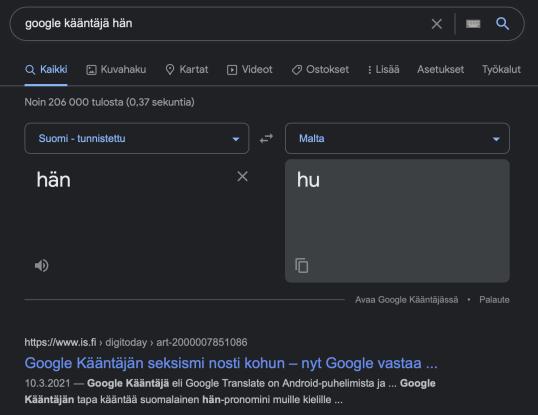 """Googlen hakusanoina """"google kääntäjä hän"""". Hakutuloksena """"hän"""" käännettynä maltaksi."""